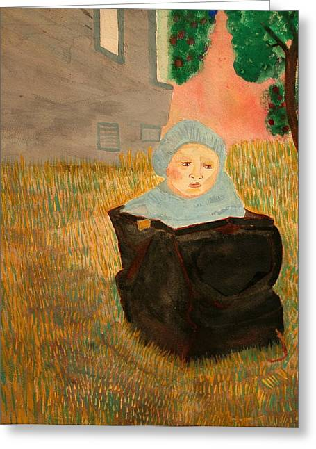 Baby In A Bag Greeting Card by Shellie Gustafson