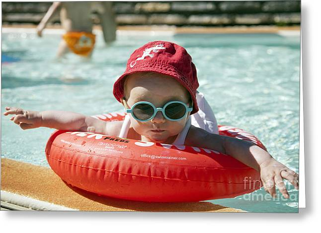 Baby In Pool Greeting Card by Jean-Fran�ois Humbert