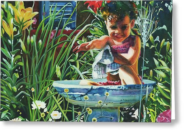Baby In The Birtbath Greeting Card by Maureen Dean
