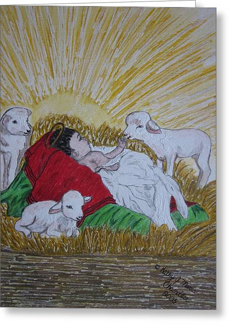 Greeting Card featuring the painting Baby Jesus At Birth by Kathy Marrs Chandler