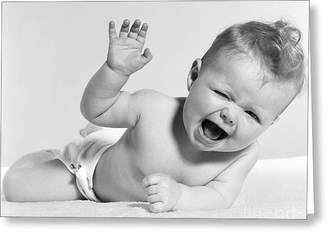 Baby Laughing, Hand In Air, C.1950s Greeting Card
