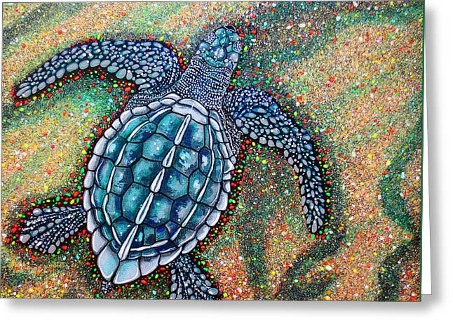 Baby Leatherback Sea Turtle Greeting Card