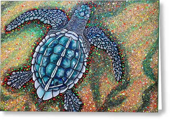Greeting Card featuring the painting Baby Leatherback Sea Turtle by Debbie Chamberlin