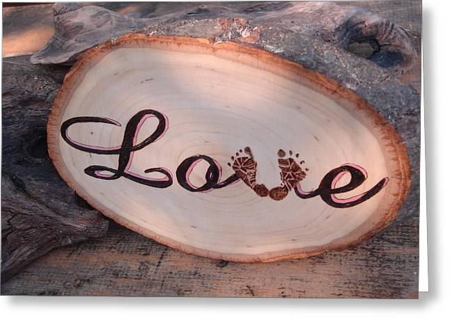 Gifts Pyrography Greeting Cards - Baby Love Greeting Card by Dakota Sage