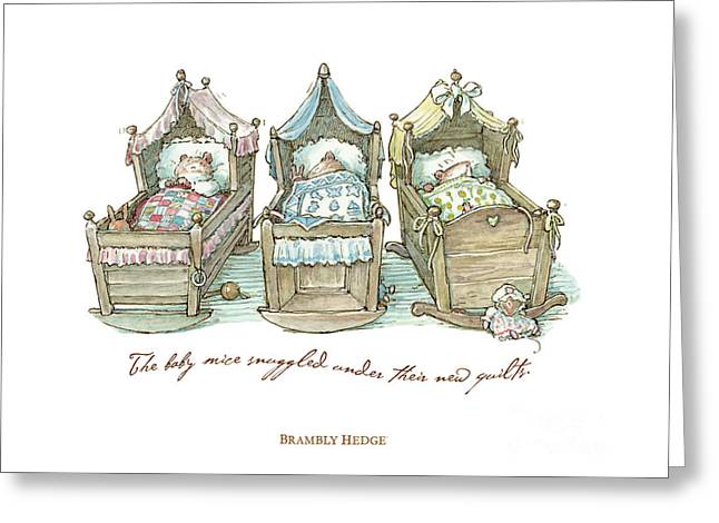 The Brambly Hedge Baby Mice Snuggle In Their Cots Greeting Card