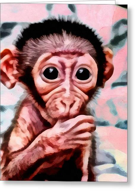 Baby Monkey Realistic Greeting Card