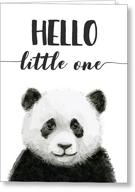 Baby Panda Hello Little One Nursery Decor Greeting Card