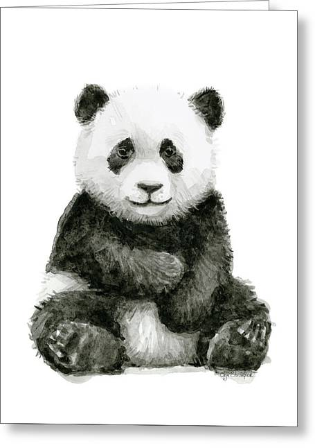 Baby Panda Watercolor Greeting Card
