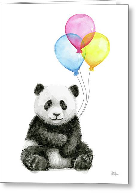 Baby Panda Watercolor With Balloons Greeting Card by Olga Shvartsur