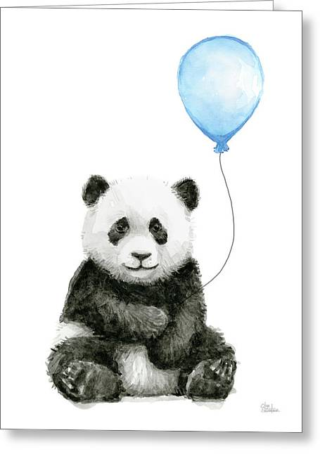 Baby Panda With Blue Balloon Watercolor Greeting Card