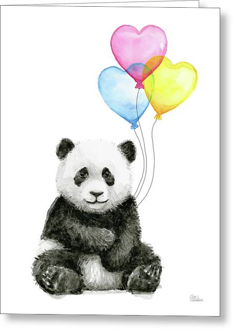 Baby Panda With Heart-shaped Balloons Greeting Card by Olga Shvartsur