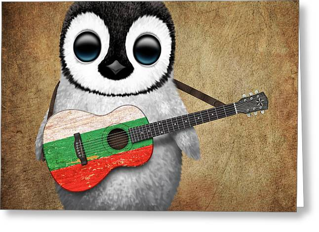 Baby Penguin Playing Bulgarian Flag Guitar Greeting Card by Jeff Bartels