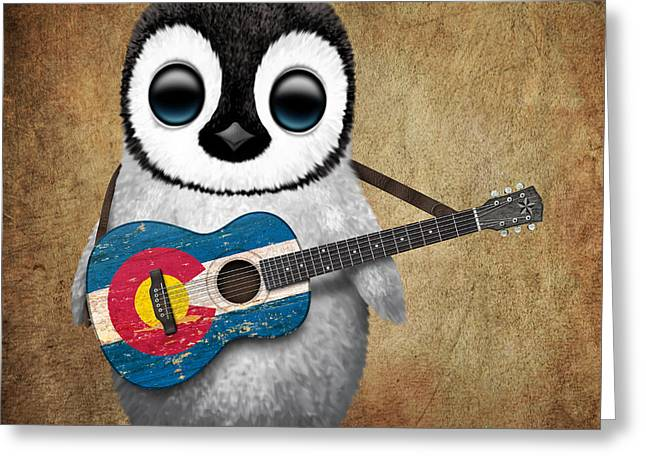 Baby Penguin Playing Colorado Flag Guitar Greeting Card by Jeff Bartels