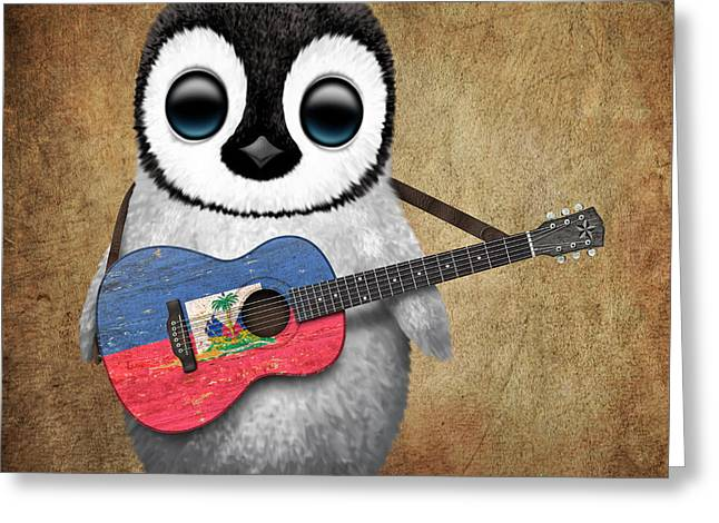 Baby Penguin Playing Haitian Flag Guitar Greeting Card