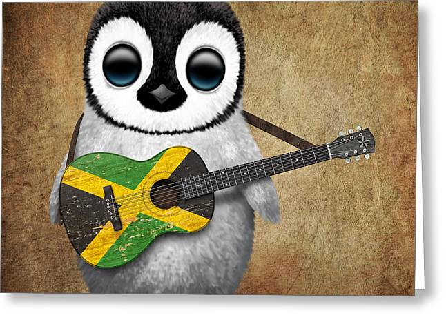 Baby Penguin Playing Jamaican Flag Guitar Greeting Card