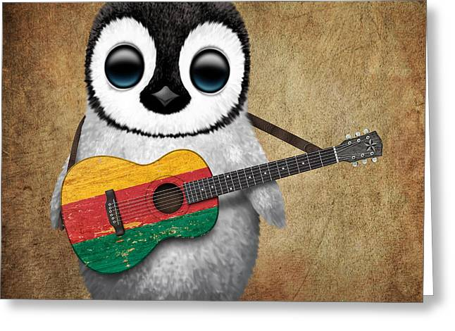 Baby Penguin Playing Lithuanian Flag Guitar Greeting Card