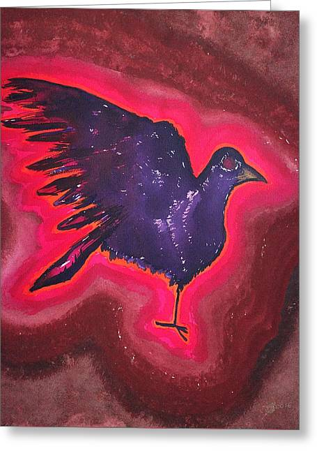 Baby Phoenix Original Painting Greeting Card by Sol Luckman
