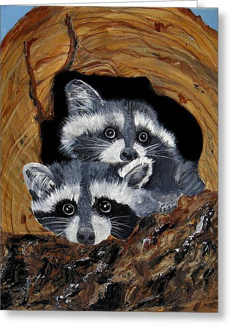 Baby Raccoons Greeting Card by Dia Spriggs