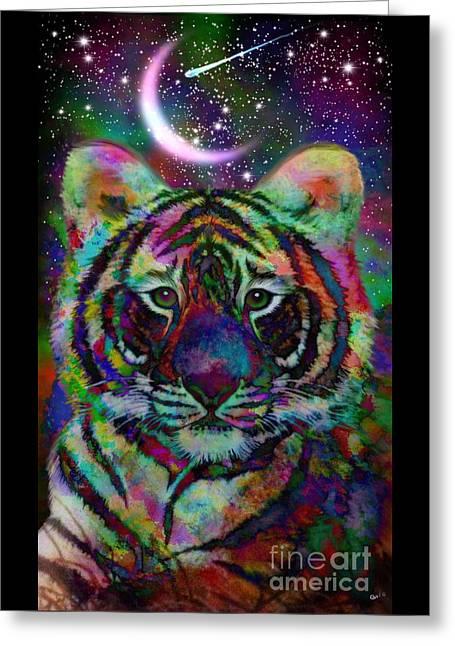 Baby Rainbow Tiger Greeting Card by Nick Gustafson