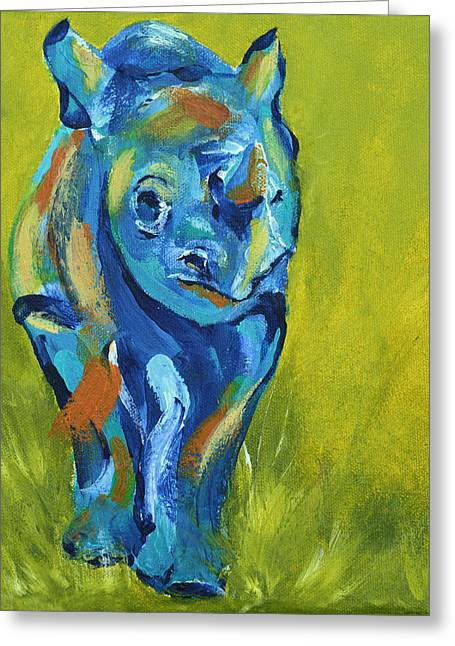 Baby Rhino Animal Art Painting Greeting Card by Catherine Jeltes