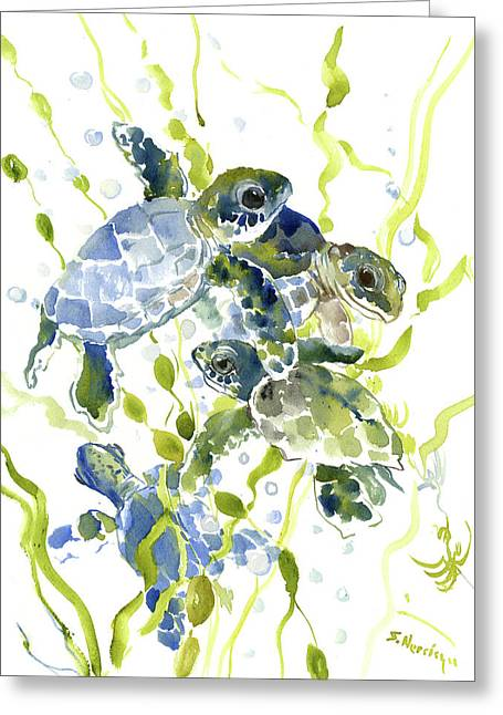 Baby Sea Turtles In The Sea Greeting Card