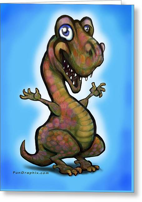 Greeting Card featuring the painting Baby T-rex Blue by Kevin Middleton