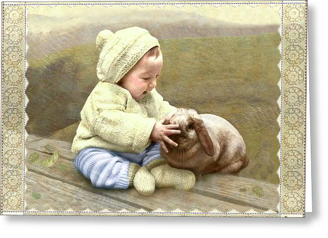 Baby Touches Bunny's Nose Greeting Card