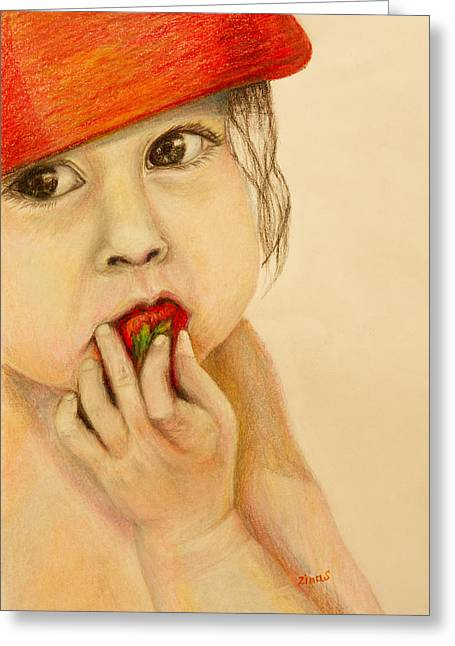 Baby With A Strawberry  Greeting Card by Zina Stromberg