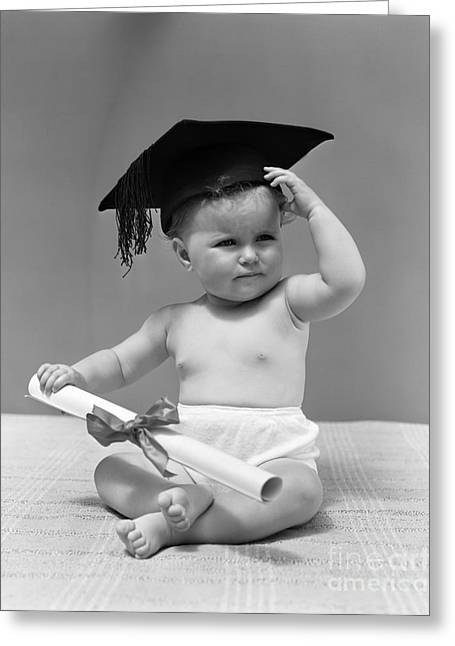 Baby With Graduation Cap And Diploma Greeting Card