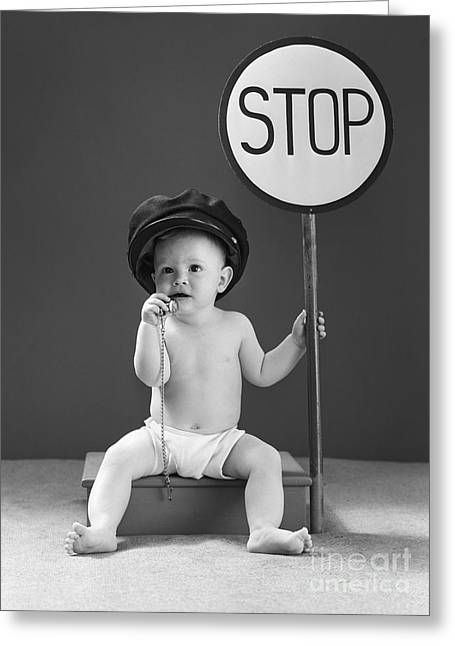 Baby With Stop Sign, 1940s Greeting Card by H. Armstrong Roberts/ClassicStock