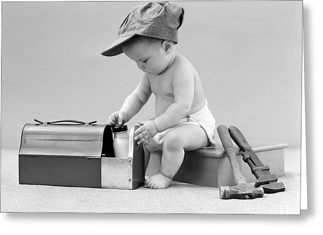 Baby With Work Tools And Lunch Pail Greeting Card