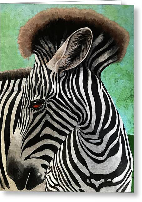 Greeting Card featuring the painting Baby Zebra by Linda Apple