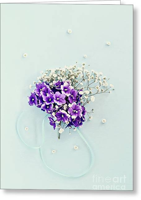 Greeting Card featuring the photograph Baby's Breath And Violets Bouquet by Stephanie Frey