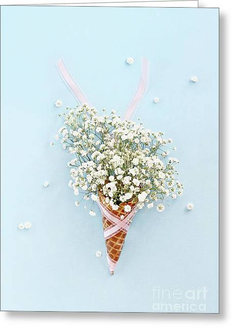 Greeting Card featuring the photograph Baby's Breath Ice Cream Cone by Stephanie Frey