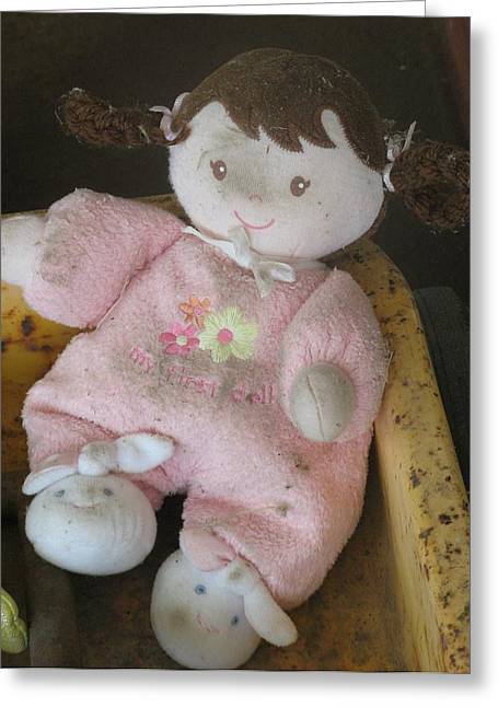 Pajamas Greeting Cards - Babys First Doll Greeting Card by Richard Bryce and Family