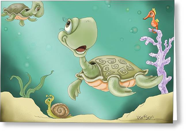 Sea Life Digital Greeting Cards - Babys Morning Swim Greeting Card by Hank Nunes
