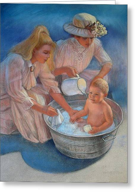 Baby's Summer Bath Greeting Card by Sue Halstenberg