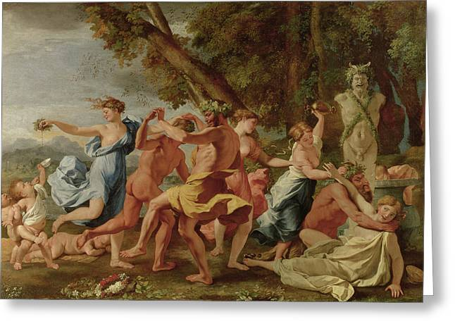 Poussin; Nicolas (1594-1665) Greeting Cards - Bacchanal before a Herm Greeting Card by Nicolas Poussin