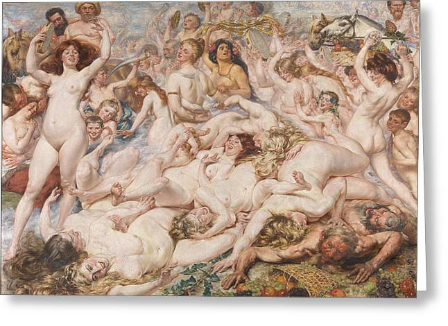 Bacchanalia Greeting Card by Auguste Leveque