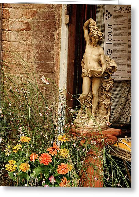 Bacchus Beckons Come In Greeting Card