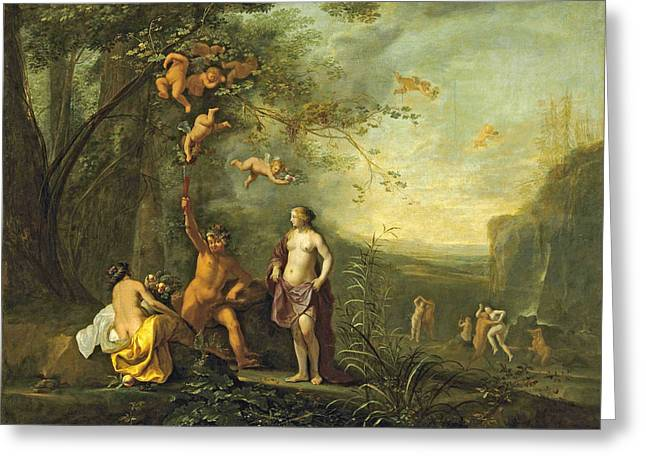 Bacchus Venus And Ceres Under A Grapevine In A Pastoral Landscape With Putti Nymphs And Satyrs Greeting Card