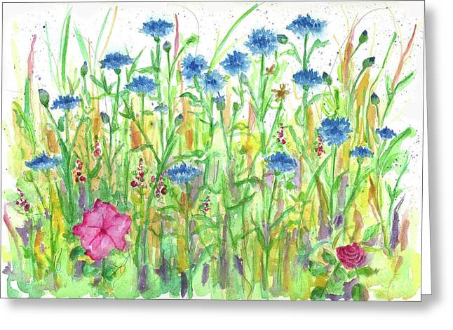 Greeting Card featuring the painting Bachelor Button Meadow by Cathie Richardson