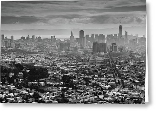 Back And White View Of Downtown San Francisco In A Foggy Day Greeting Card