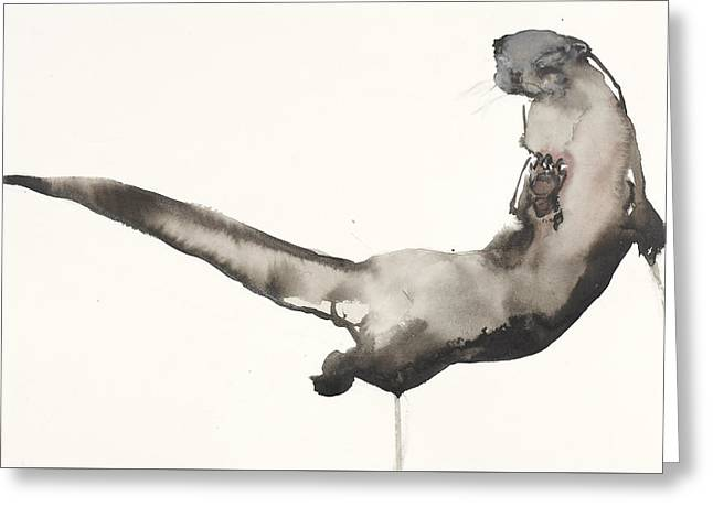 Back Awash   Otter Greeting Card by Mark Adlington
