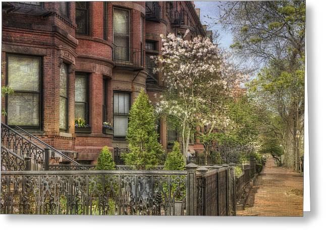 Back Bay Boston Brownstones In Spring Greeting Card by Joann Vitali