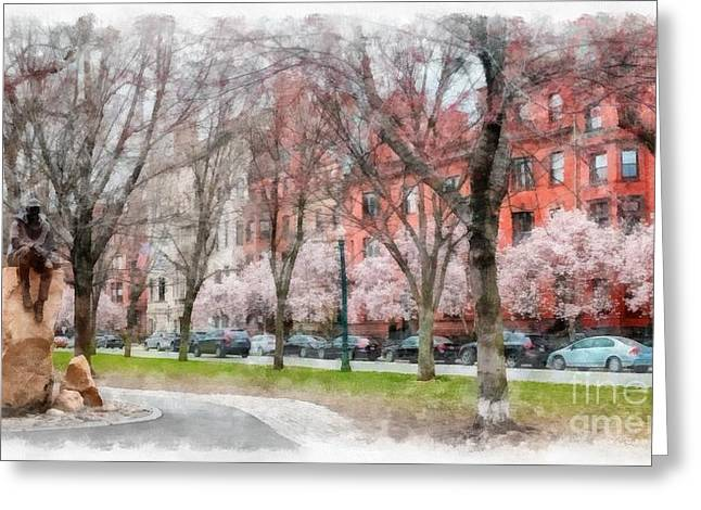 Back Bay Boston Watercolor Greeting Card by Edward Fielding