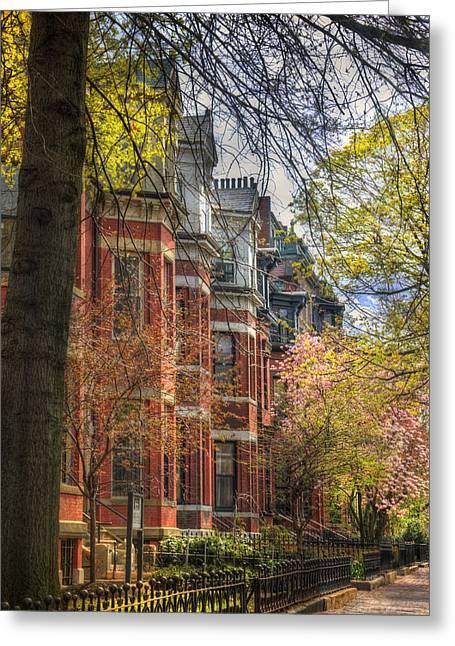 Back Bay Brownstones In Spring - Boston Greeting Card