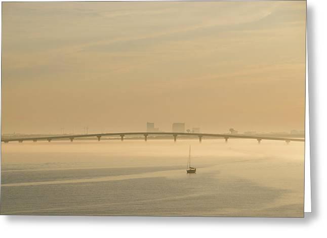 Back Bay Sailboat - Ocean City New Jersey At Sunrise Greeting Card