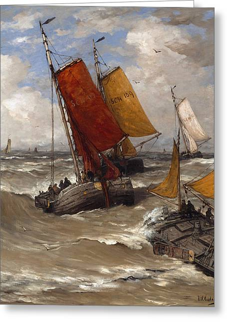 Back From Fishing Greeting Card by Hendrik Willem Mesdag