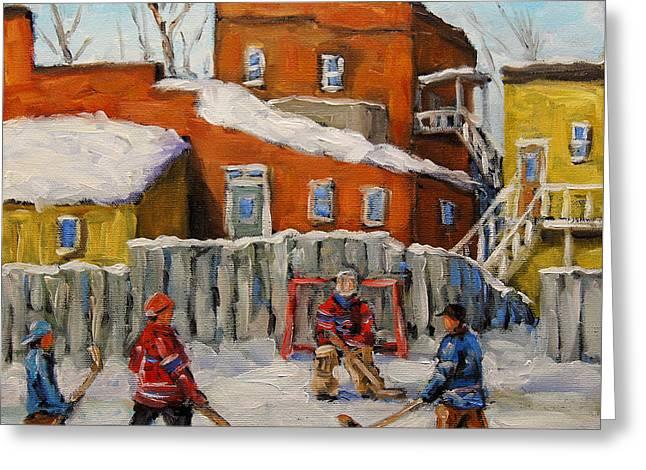 Back Lane Hockey Created By Prankearts Greeting Card by Richard T Pranke